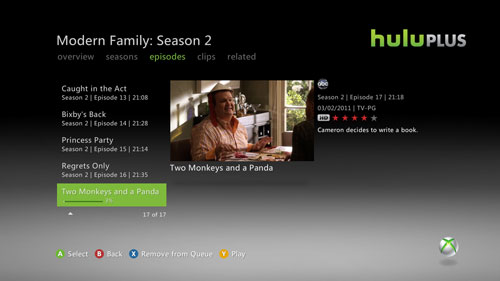 Hulu Plus on Xbox Live Launched with Kinect and TV Integration