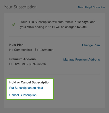 Hulu Plus Billing Information