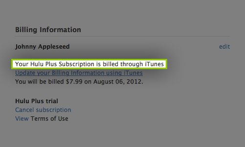 iTunes Billing FAQ Support Hulu